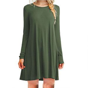 Green Color Women′s Long Sleeve Loose Casual Dress
