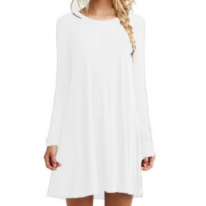 White Color Women′s Long Sleeve Loose Casual Dress