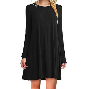 Black Color Women′s Long Sleeve Loose Casual Dress