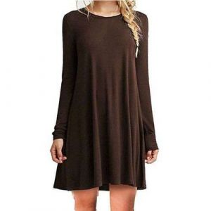 Brown Color Women′s Long Sleeve Loose Casual Dress