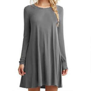 Grey Color Women′s Long Sleeve Loose Casual Dress