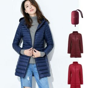 Navy Blue Color Women′s Winter MID-Length and Thin Duck Down Jacket