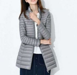 Grey Color Women′s Winter MID-Length and Thin Duck Down Jacket
