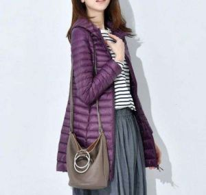 Purple Color Women′s Winter MID-Length and Thin Duck Down Jacket