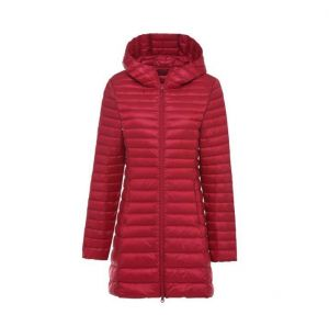Red Color Women′s Winter MID-Length and Thin Duck Down Jacket