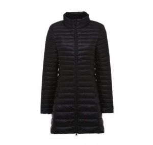 Black Color Women′s Winter MID-Length and Thin Duck Down Jacket