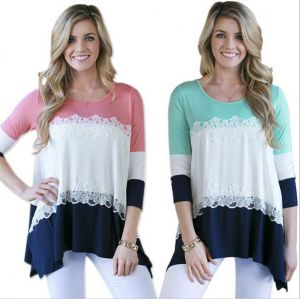 Women Tri-Color Stitching Lace 3/4 Sleeve Large Size Loose Cotton Shirt (18209)