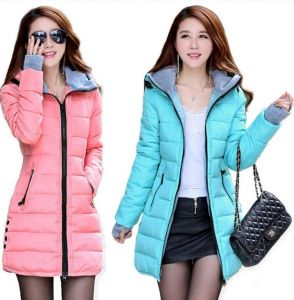 Multi Color Women Winter Hooded Warm Candy Color Cotton Padded Jackets