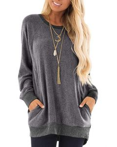 Womens Casual Jumper Solid Long Sleeve Pullover