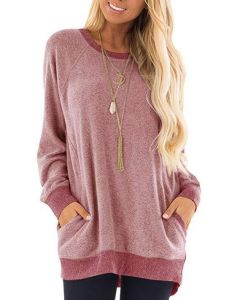 Womens Casual Jumper Solid Long Sleeve Pullover 5