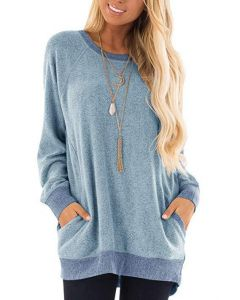 Womens Casual Jumper Solid Long Sleeve Pullover 1